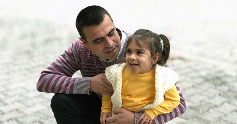 Father with young daughter