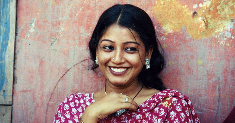 Indian mother smiling
